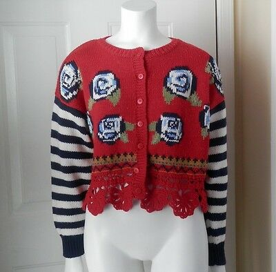 Red Vintage VTG Crop Sweater Kitty Hawk Vivian Wang Medium M L 80s