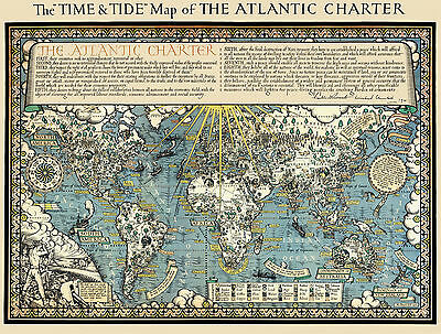 The Time & Tide Map of The Atlantic Charter 1942 - Old, Vintage  Poster  Reprint
