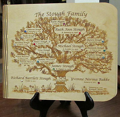 Family Tree Photo Album Custom Laser Engraved on Wood for Your Family