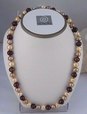 """LOVELY NEW HONORA 36/"""" 5 /&9MM BAROQUE RONDELLE WATERLILLIES  NECKLACE SS BEADS"""
