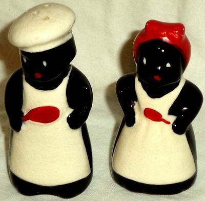 Black Americana Salt and Pepper Shakers Mammy & Chef Made in Japan