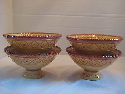 FITZ & FLOYD GALLO DE ORO FOOTED BOWLS SET OF 4 #78-499 NEW