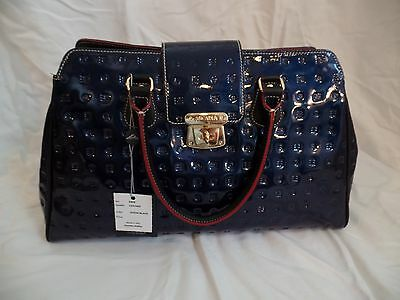 Arcadia Navy Blue Embossed Italian Leather Handbag with black/red/gold NWT