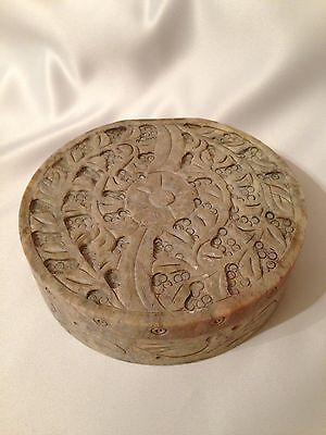 Hand Carved Stone Box with Floral Pattern and Hinged Lid Round