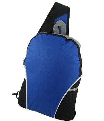 Sling Strap Blue Backpack With Mesh Pockets
