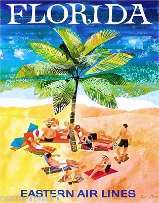 Florida Palm Tree United States of America Vintage Travel Advertisement Poster