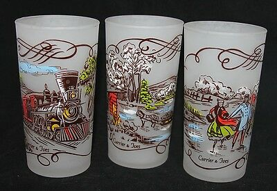 3 Federal Glass CURRIER & IVES Tumblers Frosted Train Engine Ice Skating