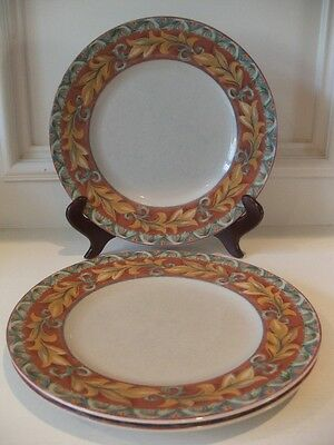 PTS International Interiors Acanthus Dinner Plates Genuine Stoneware Total of 3