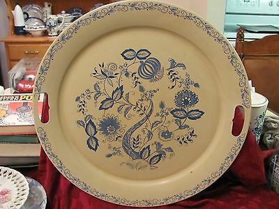 Blue Danube Onion large metal serving tray with pierced handles