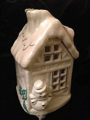Ceramic Winter House with Snowman and Candle Inside - New and Unopened