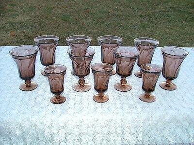 Set Lot 11-Fostoria JAMESTOWN Brown Water Tea Goblets Wine Cordial Footed Glass