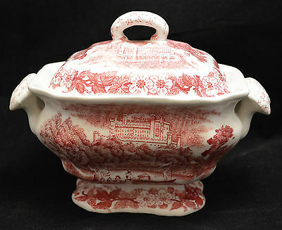 Vintage Red Transferware Sauce Tureen Castle Flower Accents - preowned (mre)
