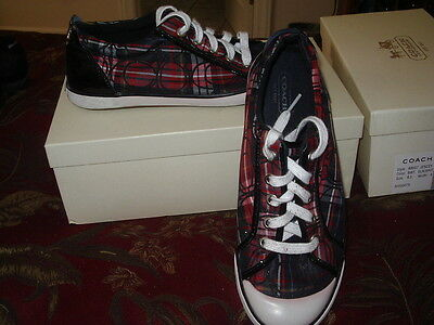 COACH BARRETT TARTAN PLAID Red, White & Black SNEAKERS LADIES SHOES 8.5 B