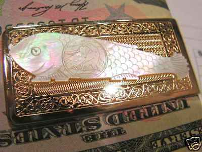 ANTIQUE Mother of Pearl GAMING COUNTER CHIP MONEY CLIP