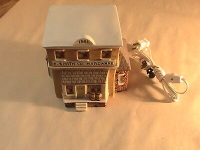 E.S.Smith Co.Hardware Store Light-Up Ceramic Christmas Village House