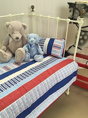 Linens n Things Boys Eddie Stripe 2 pce Baby Nursery Cot Crib Quilt Cushion set
