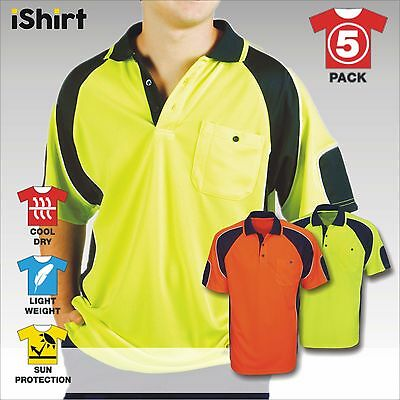 5 X Hi Vis Polo Work Shirt Cool Dry Breathable Side Panel Safety Workwear S/s