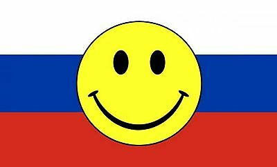 RUSSIA SMILEY FACE 5 X 3 FEET FLAG Russian federation Moscow