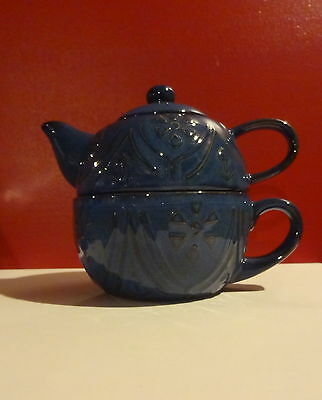 Pier 1 Imports Tunsia Blue Stoneware Stackable Tea for One Teapot