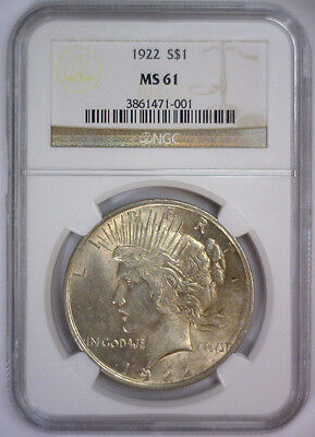 1922 Peace Silver Dollar Early Date Victory $1 ~ NGC MS61 MS 61