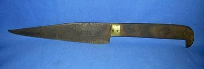 Antique Old Rare Handcrafted Iron & Brass Hilt Beautiful Shape Safety Knife