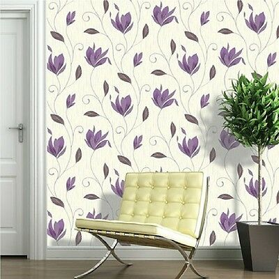 Synergy White Plum Flower Floral Trail Glitter Feature Vinyl Wallpaper M0778