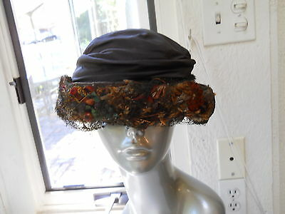"VTG 1920's Flapper HAT Art Deco clothes CLOCHE Turban 23"" REED BROS Brown Floral"