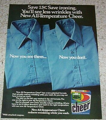 1979 vintage ad - CHEER Laundry soap detergent - less wrinkles AD