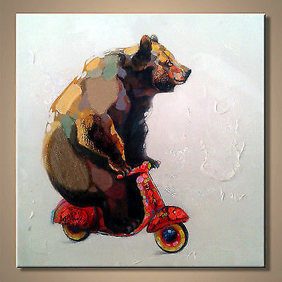 Funny Bear Riding Motorcycle Hand-painted Modern Abstract Wall Art Oil Painting