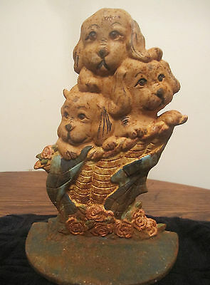 antique solid cast iron detailed dogs dog ornate door stop stopper book end big