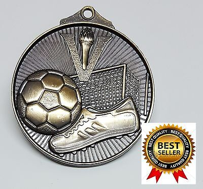 1 X SOCCER 50mm MEDAL,TROPHY,AWARD,GOLD,FREE RIBBON, FREE ENGRAVING