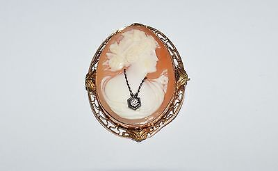 Antique Victorian 14 K Gold Hand Carved Cameo With Diamond Pendant Pin Brooch