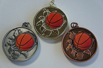 10 X  PREMIUM BASKETBALL MEDALS, 50mm ,FREE RIBBONS AND  ENGRAVING AND POST