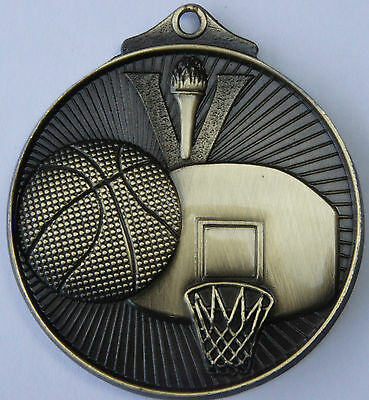 10 X  SCULPTED BASKETBALL MEDALS, 50mm ,FREE  RIBBONS  FREE ENGRAVING  FREE POST