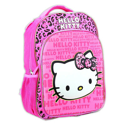 "16"" SANRIO 3D ""Pop-Out"" HELLO KITTY Leopard Girls School Backpack bookBag Bag NW"