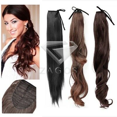 Women Lady Long Straight Curly Wavy Ponytail Pony Wigs Hair Hairpiece Extension