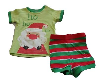 Baby Boys size 000 Green red white CHRISTMAS summer pyjamas Santa  0-3 mths NEW