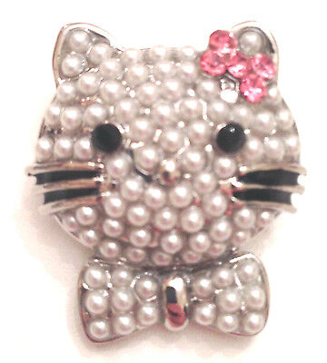 Cute Hello Kitty Faux Pearl Silver Tone Cat Pin Brooch With Pink Crystal Bow
