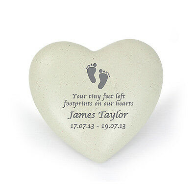 Personalised Footprints Baby Heart Memorial, Loss Of Baby - Grave Ornament