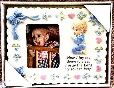 "NEW BABY BOY PORCELAIN PICTURE FRAME 4.75x6 ""NOW I LAY ME DOWN TO SLEEP"" BAPTISM"