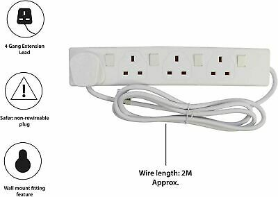 4 Way Individually Switch 2m Mains Extension Lead Cable Plug Socket