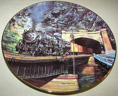 """Hamilton Collection Historic Railways Harpers Ferry Plate 8 1/8"""" Ted Xaras 1995"""