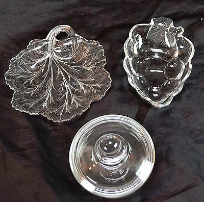 Lot of 3 Pressed Glass Dishes Leaf Shaped Grape Bunch & Round Covered