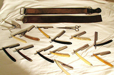 ANTIQUE & VINTAGE STRAIGHT RAZOR COLLECTION,LOT OF 13- RARE PUMA GOLD,MAKE OFFER