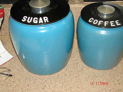 Vintage 4  Piece Set of Kromex Aluminum Brushed Canisters sugar and coffee