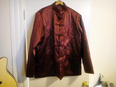 Size XXXXL Red Dragon Embroidered Asian Jacket by Deliniao