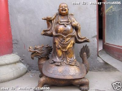 23 INCH Chinese classical Old Bronze arhat Buddha Ride on Dragon tortoise Statue