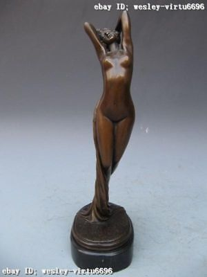 Western Art Pure Bronze & Base Marble fantasy Nude Woman sculpture