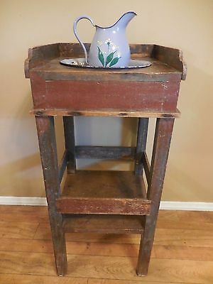 "EARLY 19TH CENT. NEW ENGLAND FARM HOUSE WASH STAND ORIGINAL SURFACE 39"" TALL EXC"
