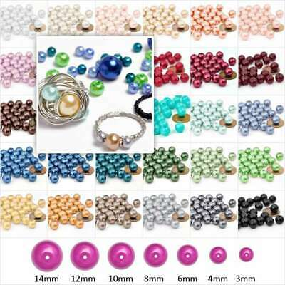 Hot 3/4/6/8/10/12/14mm Round Glass Pearl Spacer Beads 30 Colours Wholesale